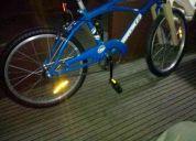 Bicicleta playera rodado 20 nueva sin uso azul con doble freno cubre cadena y pié de apoyo
