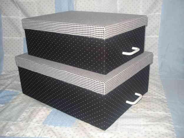 Cajas de carton forradas en tela  y papel