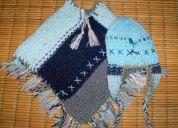 Poncho de lana tejido a mano + gorro coya