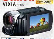 Canon vixia hf r20, entada mic, salida auricular, full hd, doble memoria. nuevas!