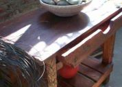 Mesa de madera deck tallada decoracion diseÑo unico