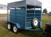 Trailer jaula acoplado remolque c/dos ejes y balancin (3000 kgs) para 3 caballos
