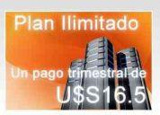Hosting ilimitado 1 pago trimestral de 16,50 u$s