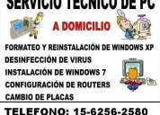 servicio tecnico de pc y notebooks a domicilio