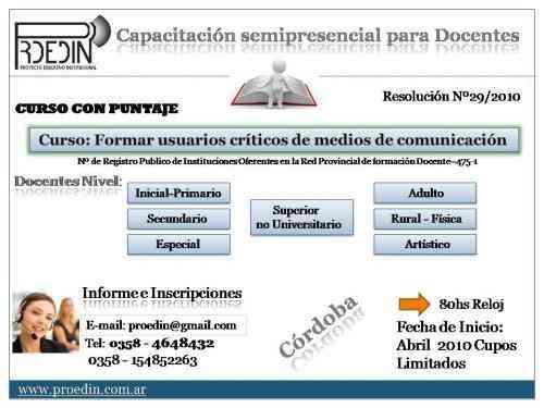 Proedin Capacitación  para docentes con puntaje en Córdoba