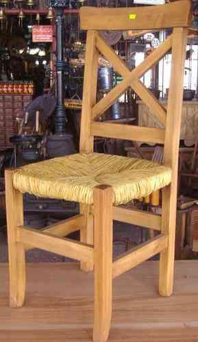 Sillas rusticas asiento de junco tigre doplim 90440 for Sillas de madera rusticas