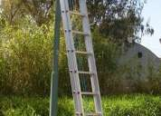Escalera aluminio reforzada extensible 28 escalones altura 7.60 m