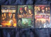 Piratas del caribe 1, 2 y 3. nuevos sin abrir.