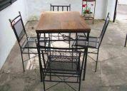 Muebles de jardin en hierro forjado 1 mesa y 4 sillas
