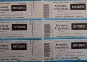Vendo entradas para interpol en puerto madero 11/11/11