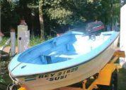 Vendo bote pescasdor de fibra con trailer y motor permuto x casa rodante pago diferencia