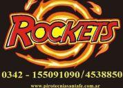 Cotillon y fuegos artificiales rockets