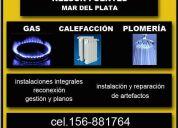 Gasista matriculado-cel.156-881764 fijo (0223)482-6545-mdp-