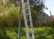 Escalera aluminio reforzada extensible 26 escalones altura 7.10 mts