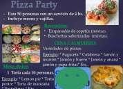 Pizza party - (incluye vajilla y mozos).