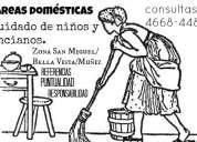 Tareas domesticas, cuidado de chicos, tareas limpieza