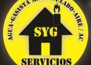 Gasista matriculado,plomeria y aire acond. www.sygservicios.com