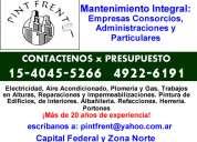 Mantenimiento integral para administraciones y particulares  caballito presupuestos al 15-4045-5266